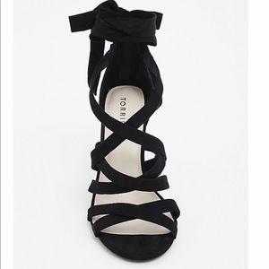 Torrid black strappy wrap heels